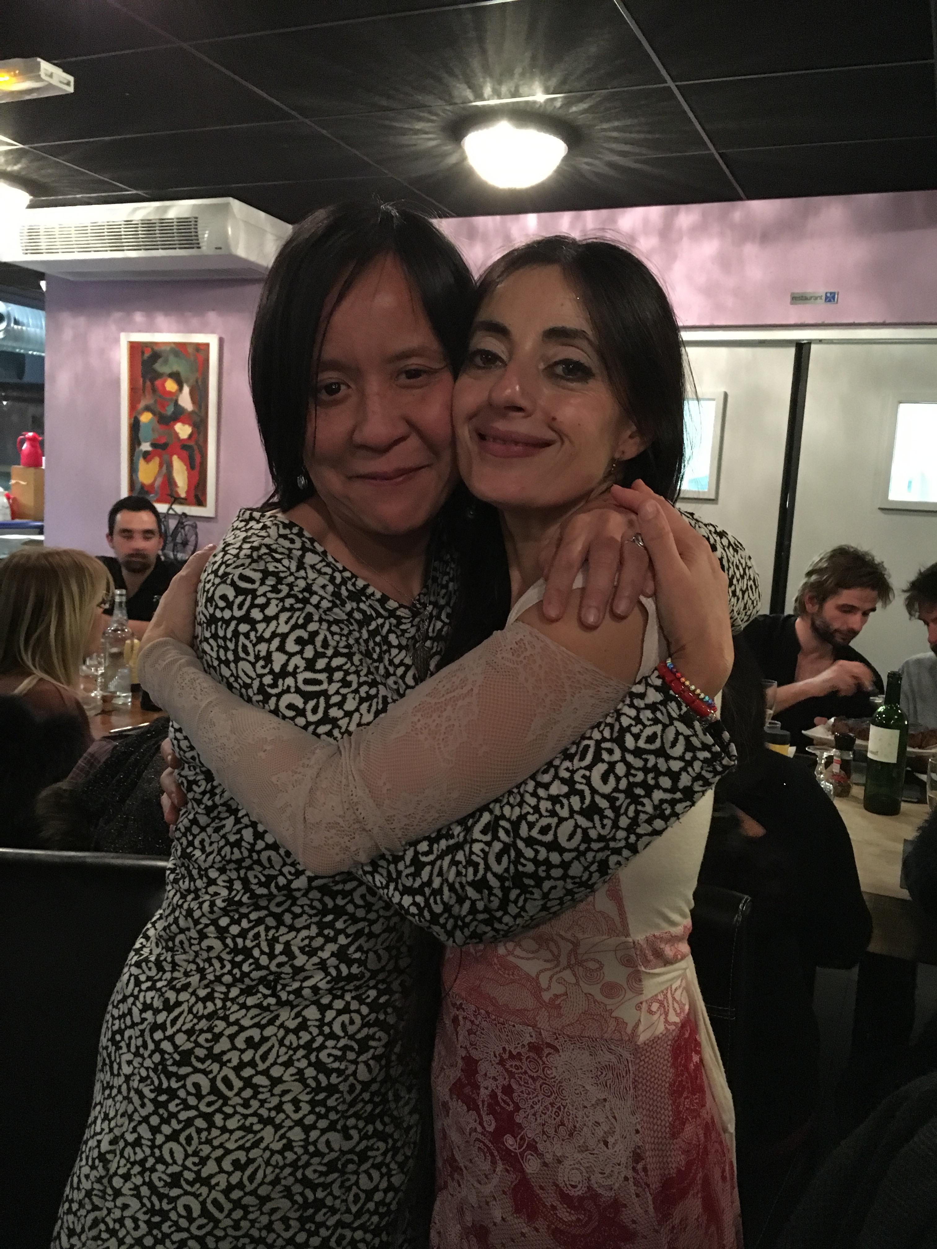 Câlin avec Christina ROSMINI le 16 janvier 2016 à Marseille après son spectacle El Niño Lorca